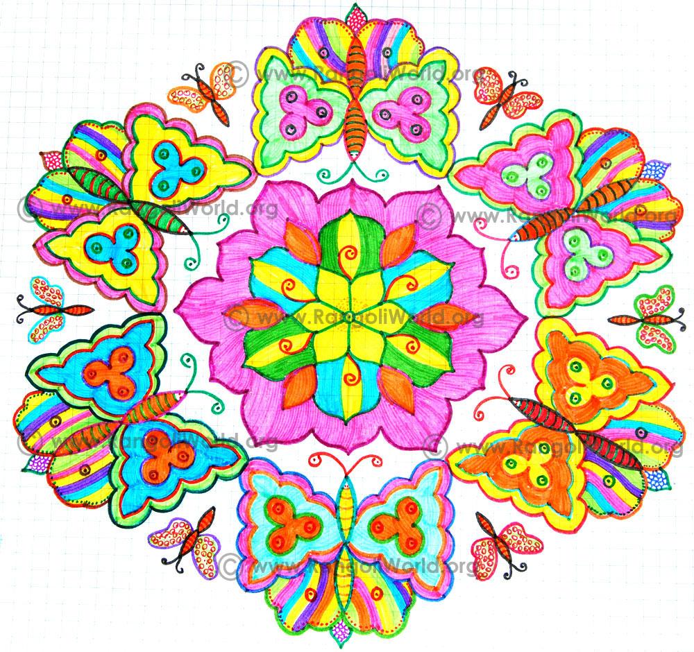 Butterfly Kolam,21 - 11 Interlaced Dots Kolam [Idukku Pulli Kolam]