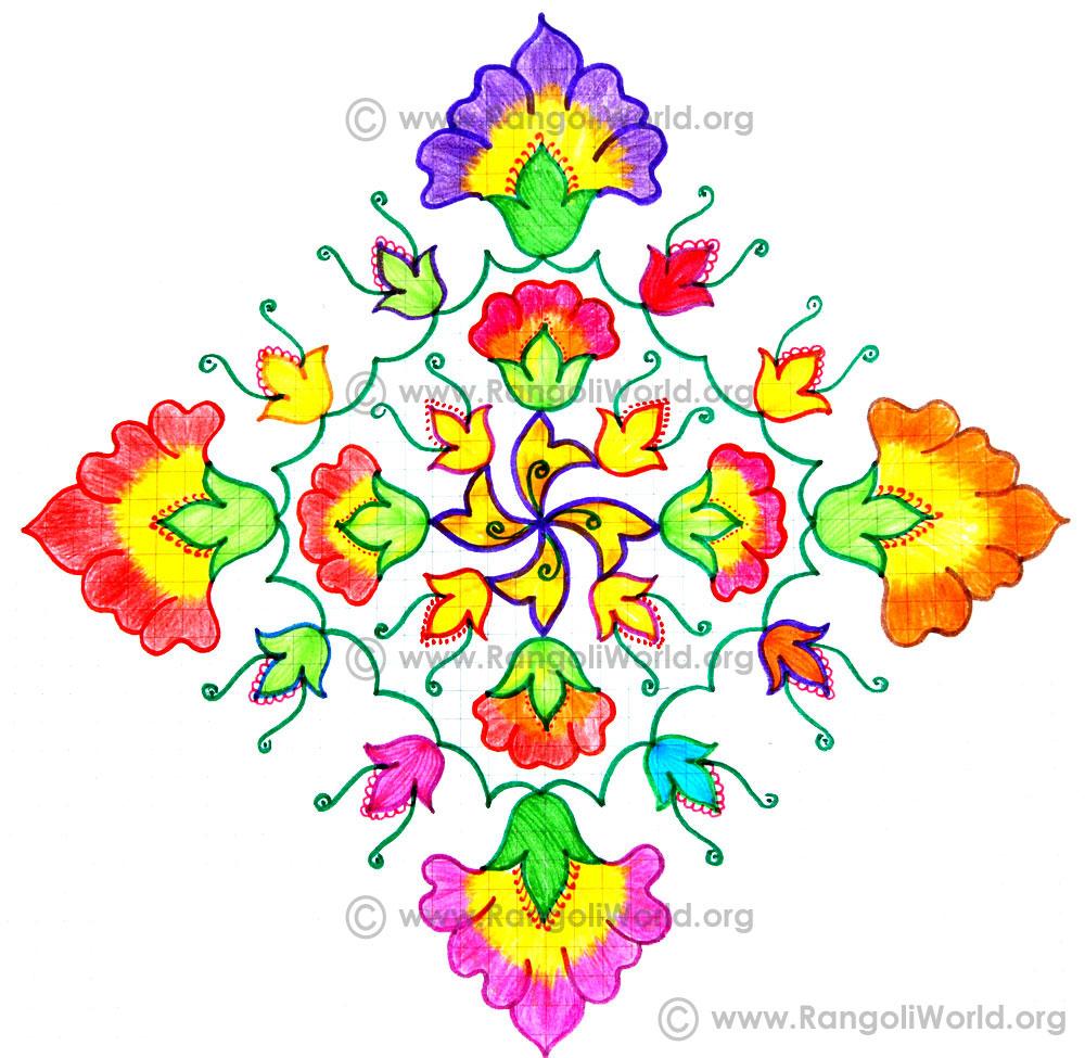 Pin Flower Kolam With Dots on Pinterest