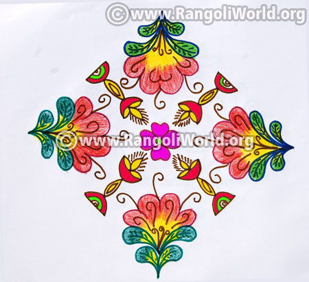 Deepam and flowers kolam pongal 2017