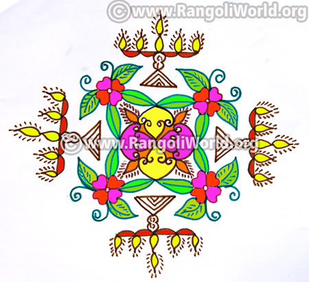 Kuthu vilakku lamp kolam design jan14 2017
