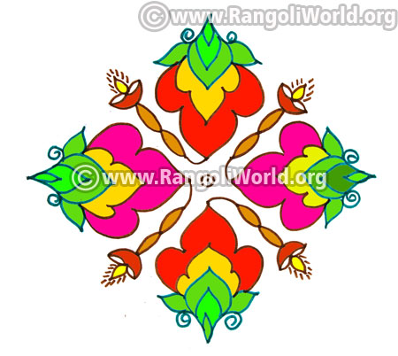 Lamp flowers kolam design jan14 2017