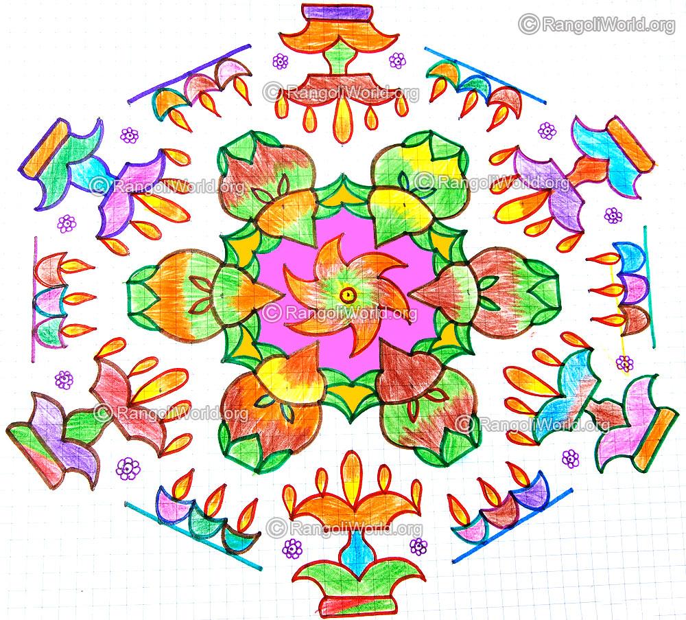 Kuthu vilakku kalasam karthigai deepam kolam with dots