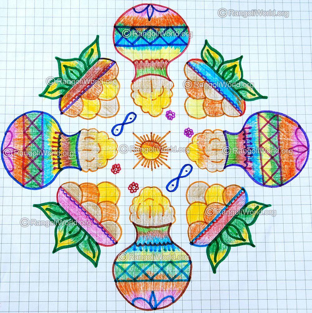 Pongal and sweets kolam with dots