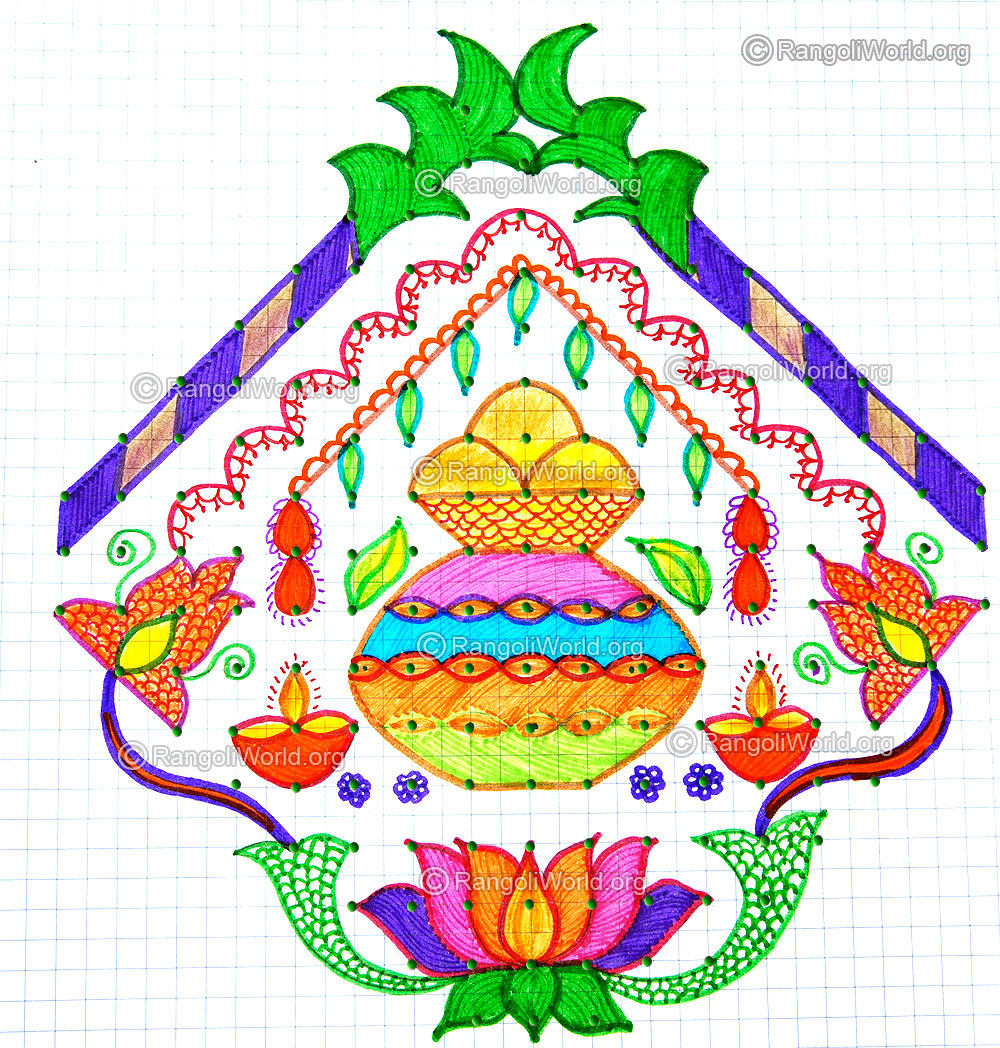 Pongal greetings kolam with dots