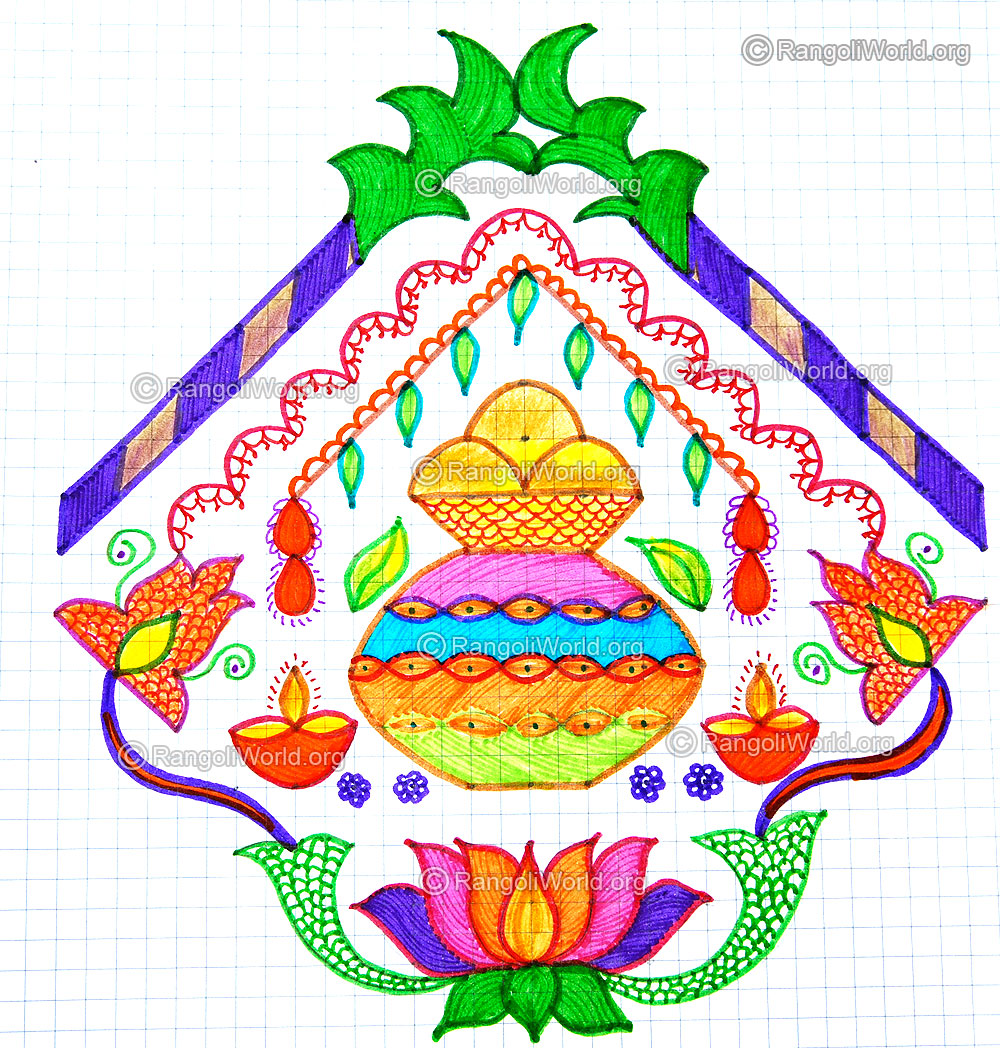 Enlarge Pongal Greetings Kolam