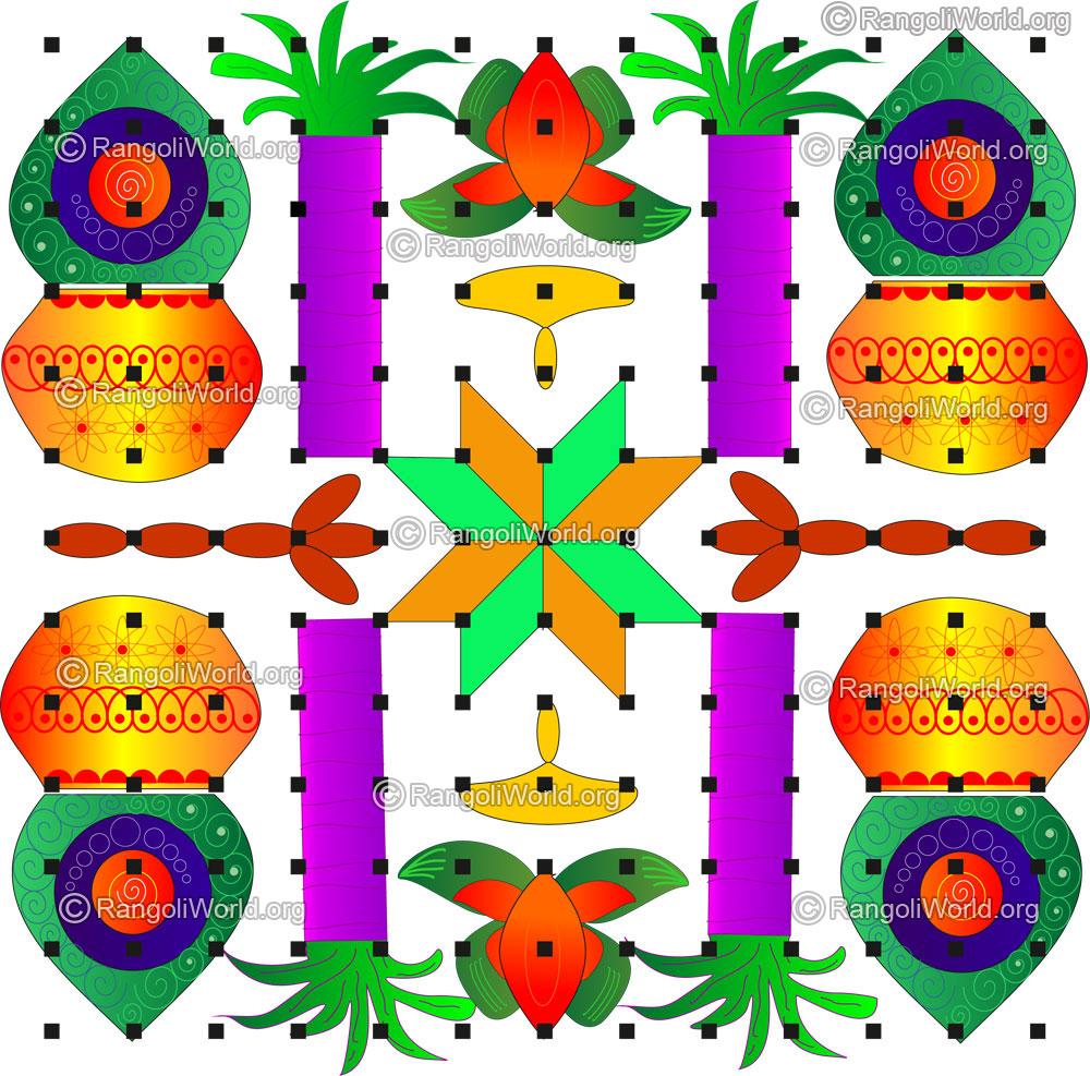 Pongal kalasam, sugarcane, star lamp kolam | 13 to 13 parallel Dots