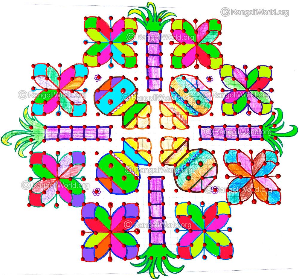 Pongal sugarcane kolam jan 2015, 20 - 12-12 Parallel Dots Kolam [Neer ...