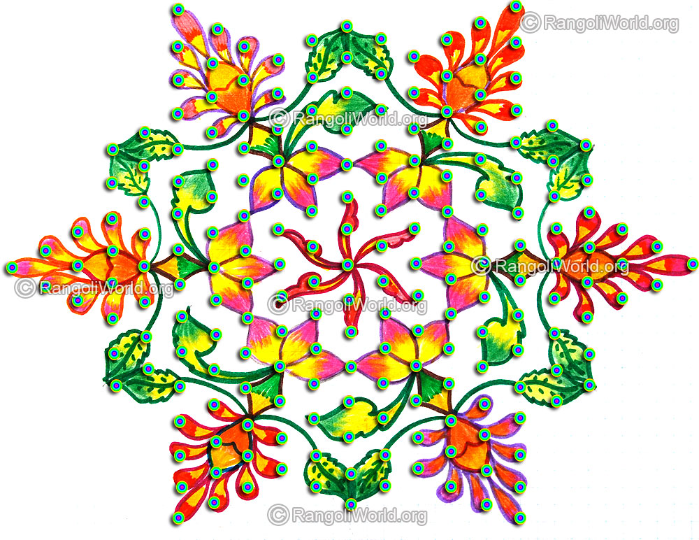 Lotus kolam ,15-8 Interlaced Dots Kolam[Idukku pulli], 3 to 1 ...