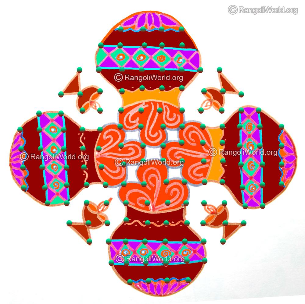 Thai pongal festival 2016 kolam with dots
