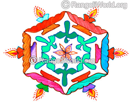 Deepam lamp and love birds latest kolam 2016