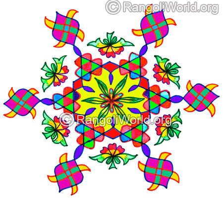 Flower swastika sikku pinnal kolam for pongal festival jan 2016