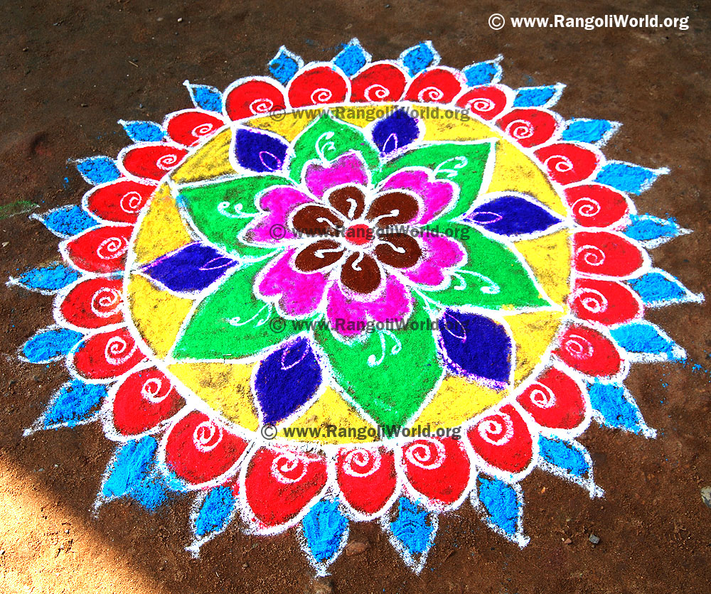 Flower rangoli designs collection 1 for Home rangoli designs