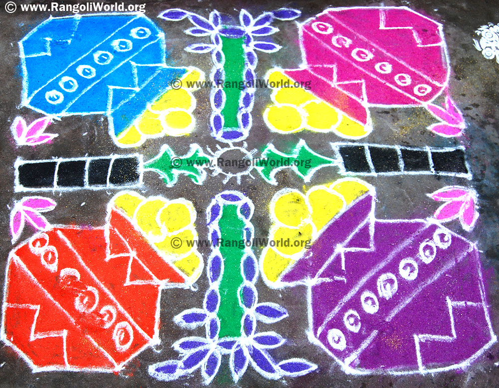 Neer Pulli Kolam Pongal And Sugar Cane