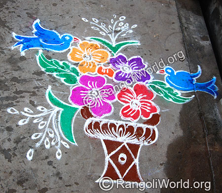 Flower Pot with Flowers and Birds Rangoli