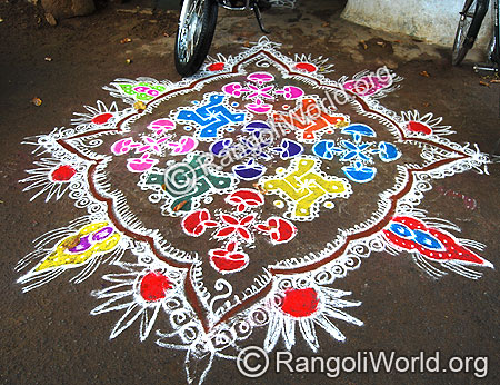 Swastik and deepam Freehand Rangoli kolam