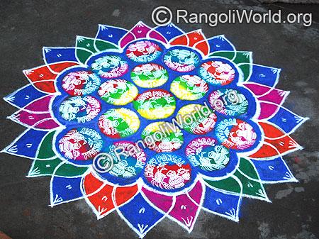 Pongal Instrumental Freehand Rangoli Design