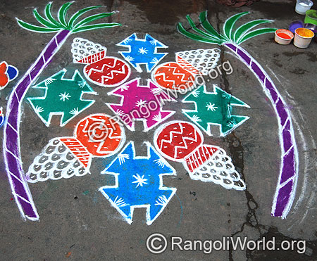 Pongal and sweets Rangoli kolam With dots
