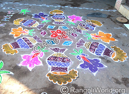 Pongal Pot In Woods Stove Pulli Kolam