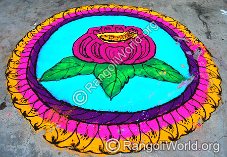 Rose Flower Freehand Rangoli