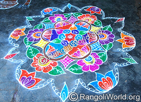 Freehand Flower Rangoli