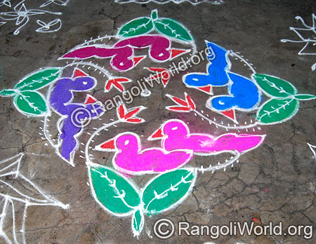 Twin Bird in leaf nest Pulli Kolam