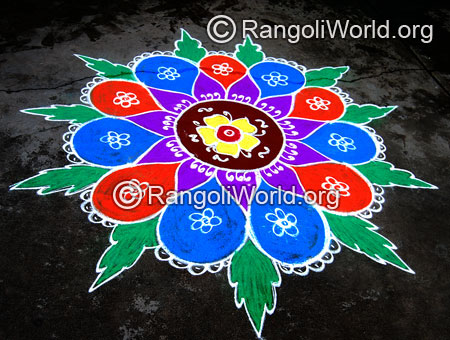 Big flower leaf freehand rangoli jan2015