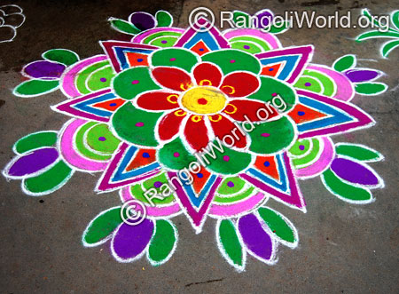Star & lotus freehand rangoli thai pongal jan2015