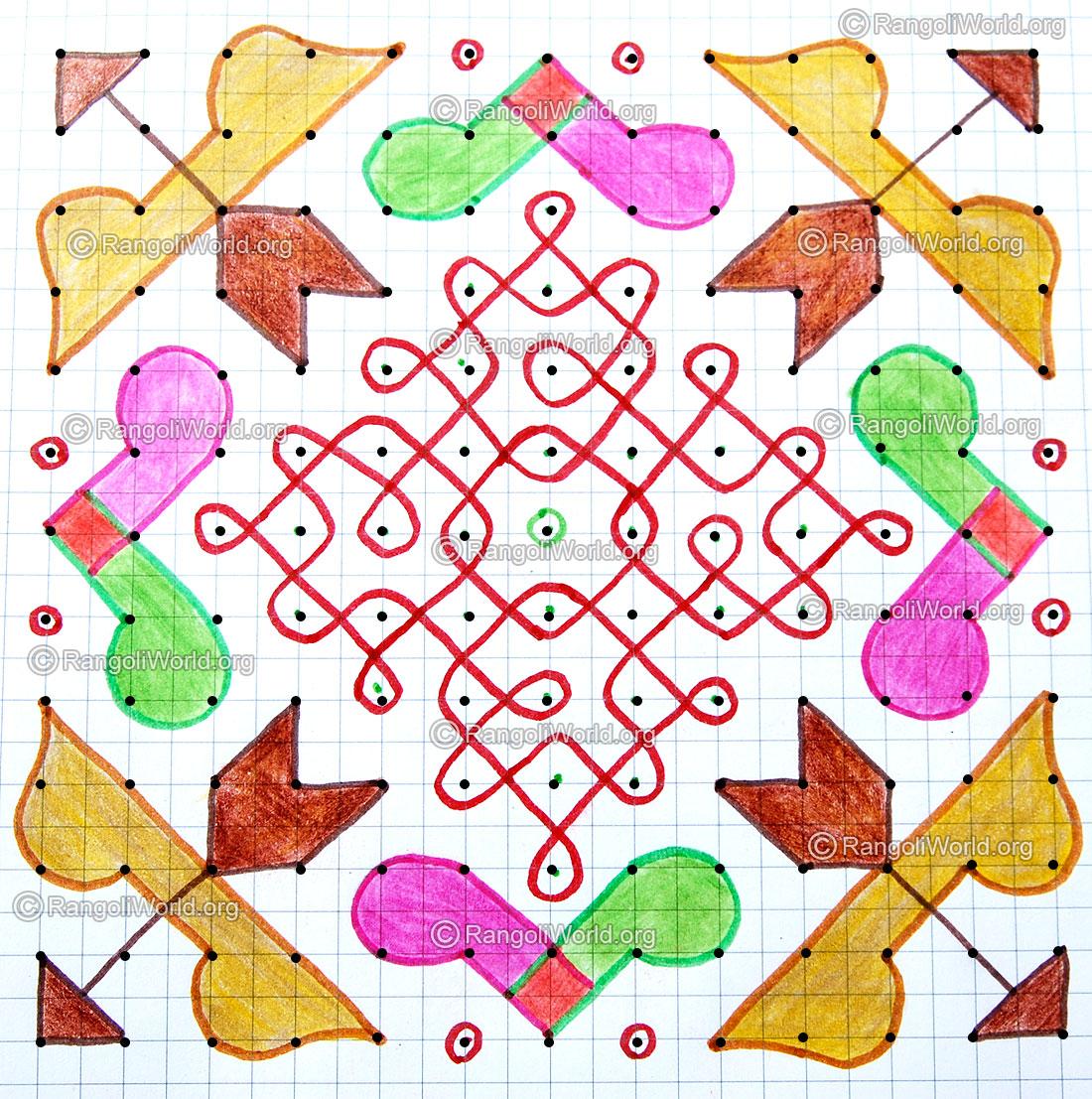 Bow arrow sikku kolam with dots