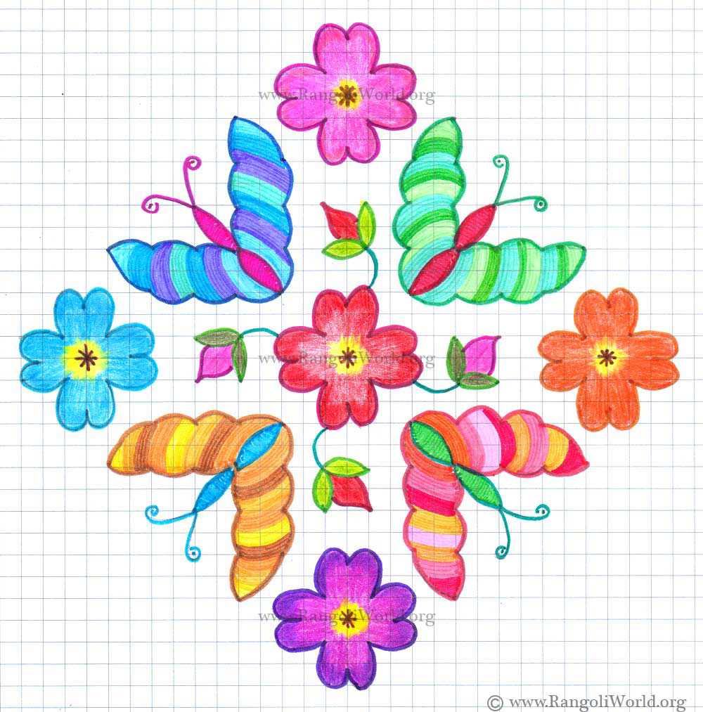 Butterfly kolam1 with dots
