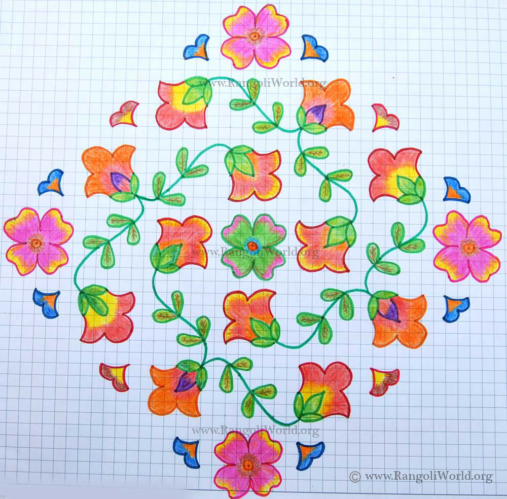 Flowers kolam2 with dots