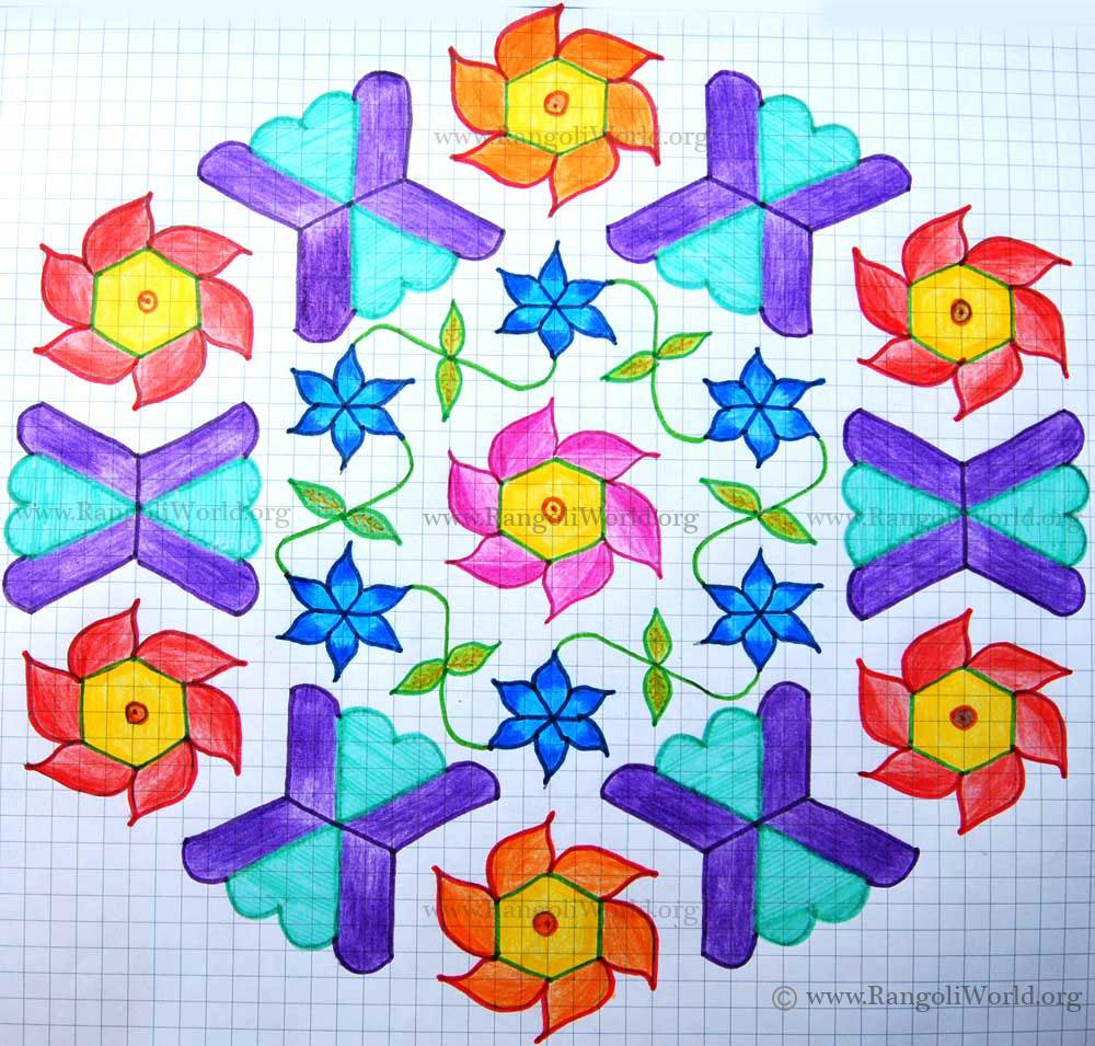Interlaced Dots Idukku Pulli Kolam Pic  16