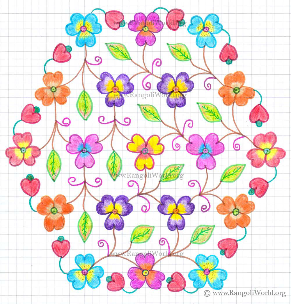 Flowers Kolam4 With Dots