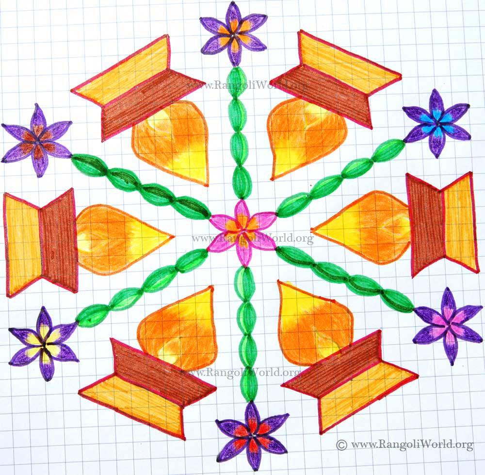 Karthigai Deepam Flowers Kolam1 with dots