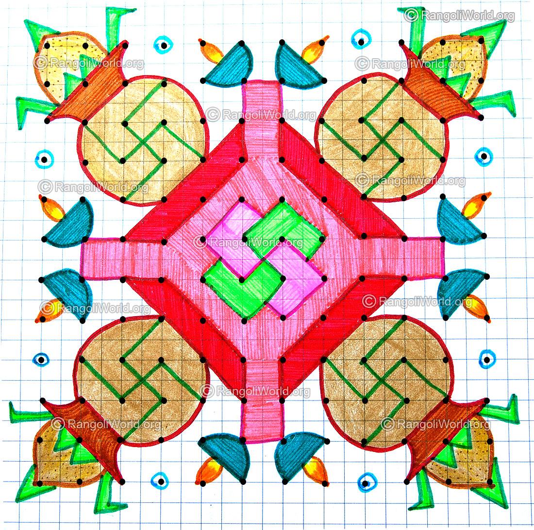 Pongal Kolam- 12 - 12 Parallel Dots Kolam [Neer Pulli Kolam]