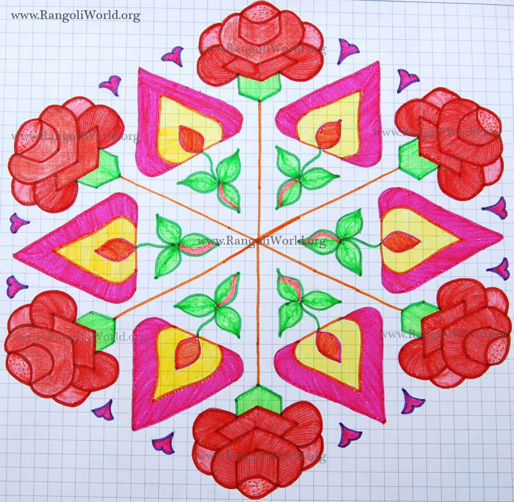 25 - 13 Interlaced Dots Kolam [Idukku Pulli Kolam]