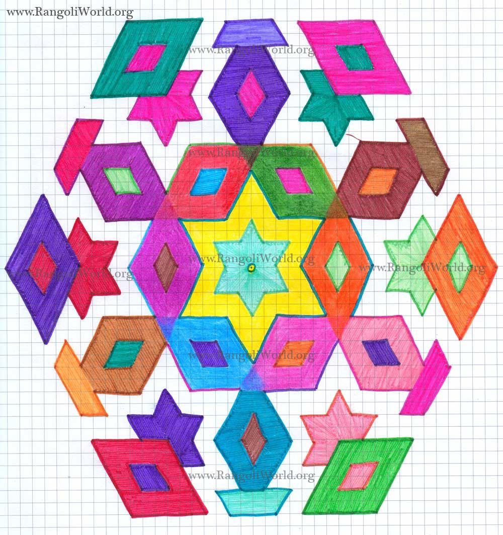 Star Diamond Kolam-21 - 11 Interlaced Dots Kolam [Idukku Pulli Kolam]