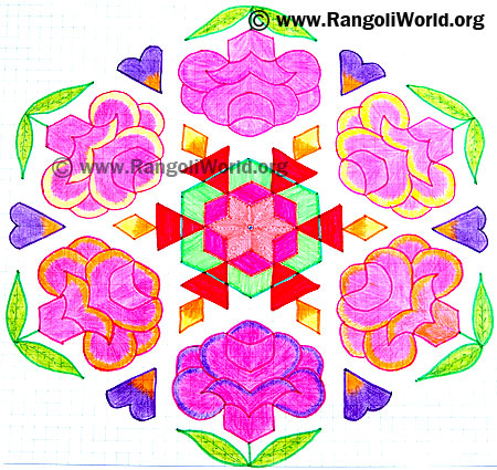 Rose Flower Deepam Kolam
