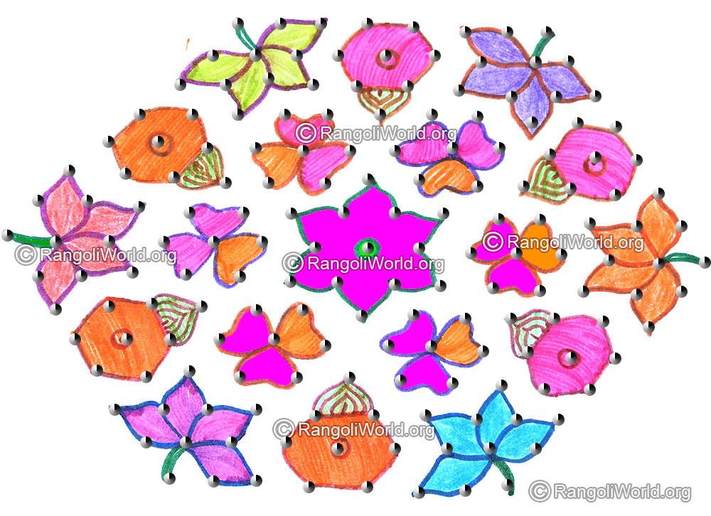 Flowers with pongal kalasam kolam april14 2015 with dots