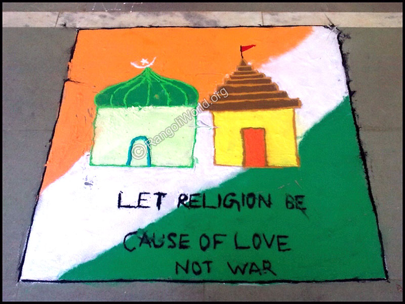 Religion Is For Love Not War Rangoli