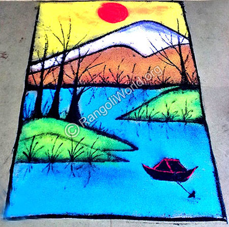 Natural scenery with boat rangoli
